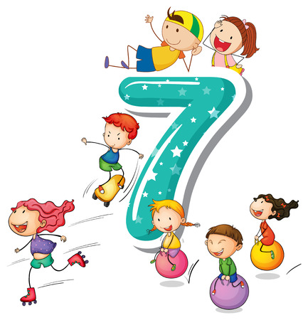 Kids playing with the number 7 Illustration