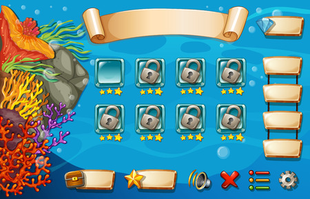 game icon: Set of game elements and icons with underwater theme Illustration