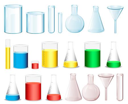 beaker: Equipo de laboratorio para medir los productos químicos Vectores