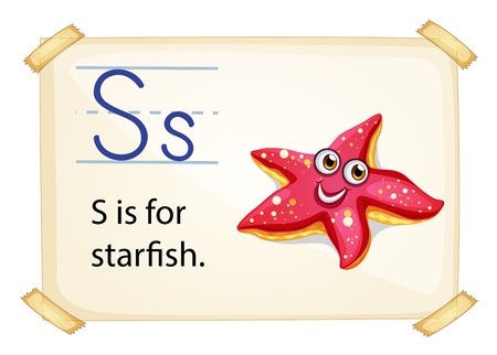 consonant: A letter S for starfish on a white background Illustration
