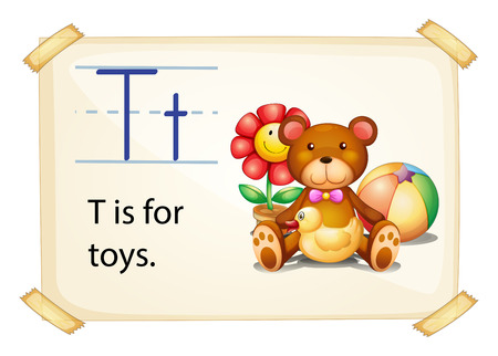 t background: A letter T for toys on a white background