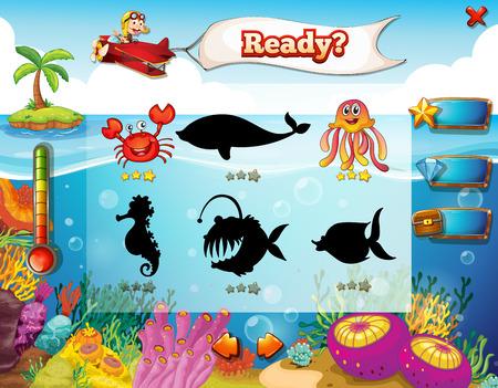 jeu: �l�ments de jeu pour le th�me du jeu sous-marin Illustration