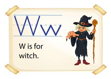 A letter W for witch on a white background Vector