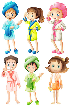 bathrobe: Illustration of a set of girls in  bathrobe Illustration
