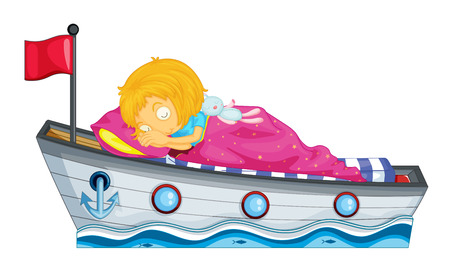 toy boat: A young girl sleeping on a boat on a white background