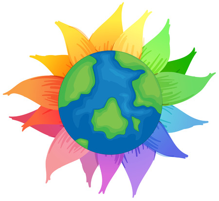 Planet Earth with flowers on a white background Vector