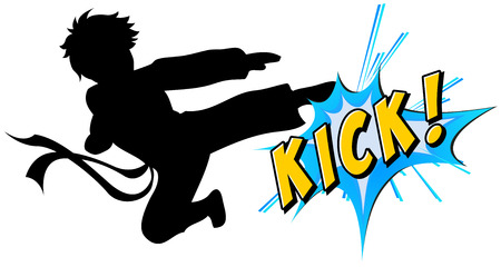 karate practice: Kicking action with text on white Illustration