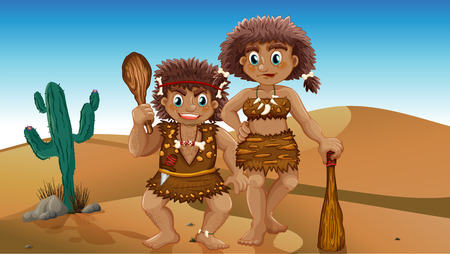 stone age: Stone age couple in the desert