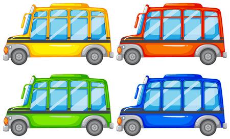 mini bus: Set of four mini buses