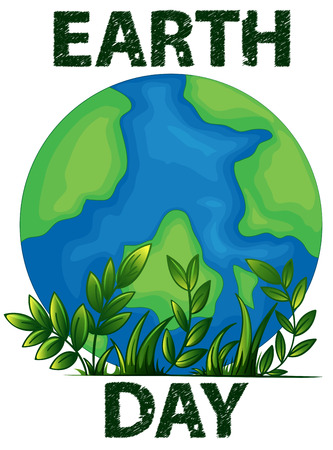 ozone friendly: Illustration of a poster of an Earth Day