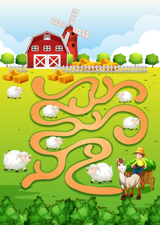 farm field: Illustration of a maze puzzle with farm background