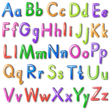 Letters of the alphabet in a colourful font style on a white background