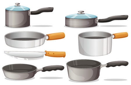 cooking pot: Illustration of different cooking equipments