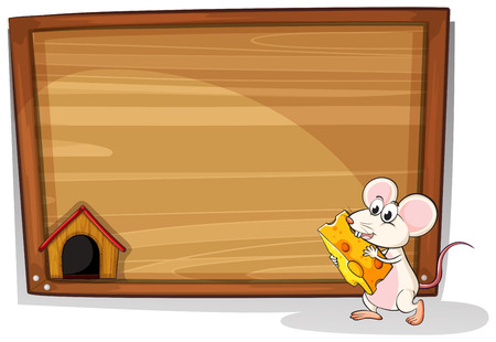 Wooden board with mouse and cheese design Vector