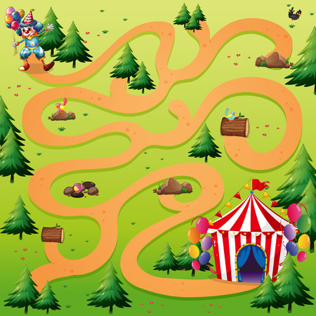 maze puzzle: Illustration of a maze with a clown background