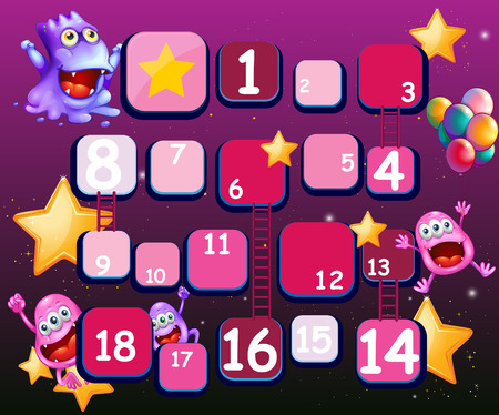 numbers: Ladder game with imaginery creature background