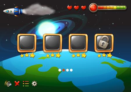 Un videojuego que muestra el espacio exterior
