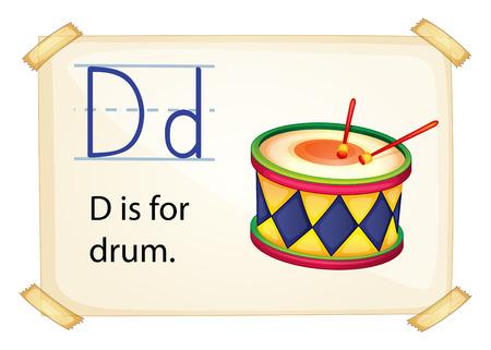 phonetic: Illustration of a flashcard letter D Illustration
