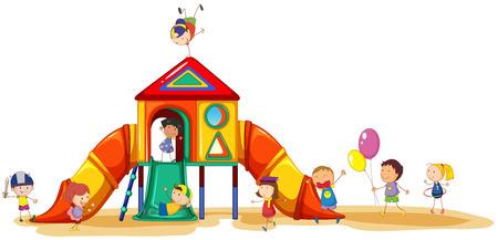 子供の遊び場で楽しんで  イラスト・ベクター素材