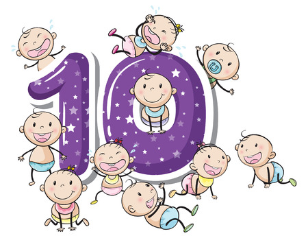numbers: Number ten with babies on white Illustration