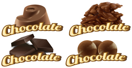 oily: Illustration of many types of chocolates