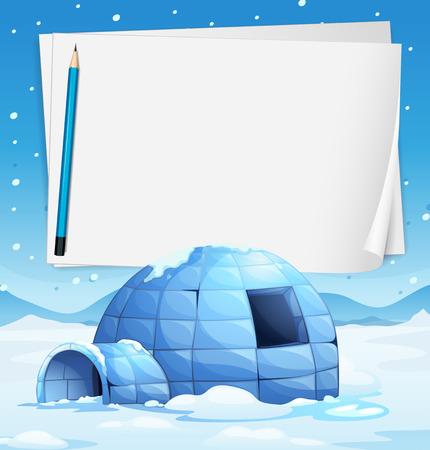 Illustratie van een iglo met papieren en een potlood