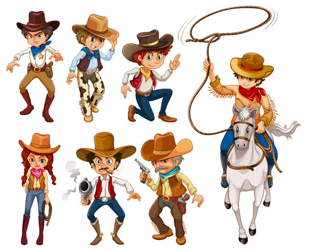 woman with gun: Illustration of different poses of cowboys Illustration