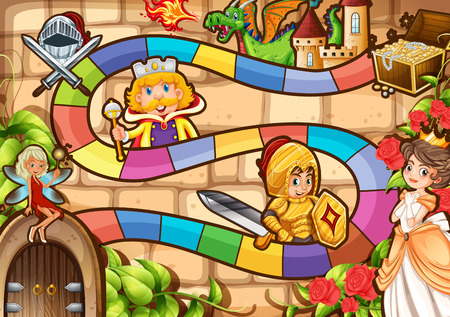 Illustration of a boardgame with fairytale background Illustration
