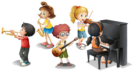 violines: Ilustración de muchos niños tocando instrumentos musicales