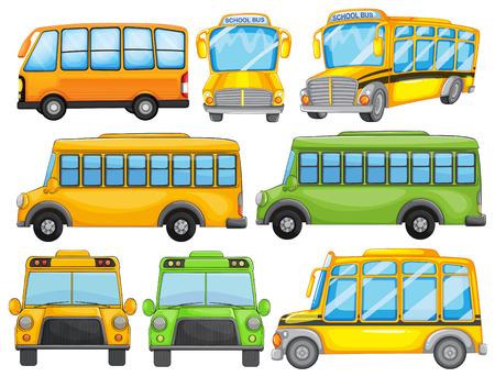 transporte escolar: Ilustraci�n de un conjunto de autob�s escolar