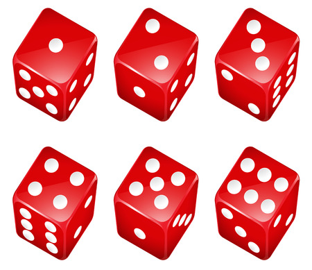 numbers clipart: Illustration of a set of red dices