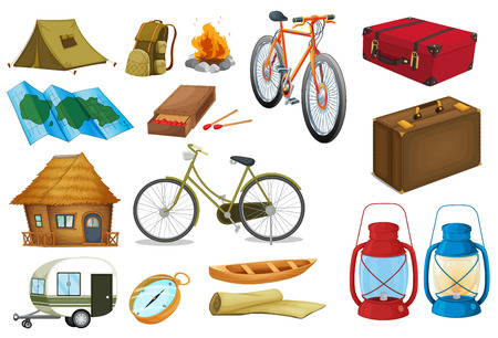 luggage bag: Camping tools and objects on white