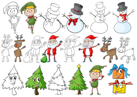 A christmas theme on a white background Vector