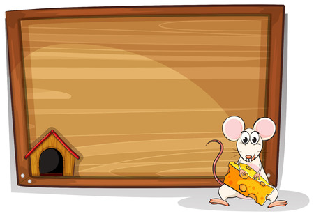 Illustration of a mouse holding cheese in front of a board Vector