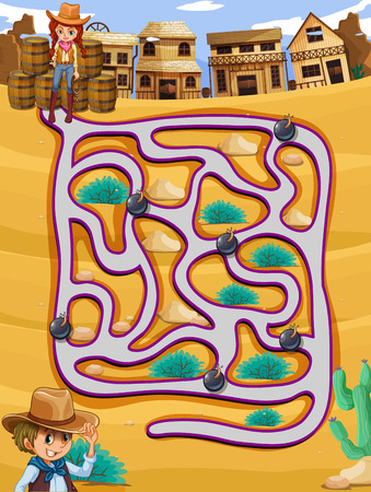 straight path: A cowgirl following a maze with bombs