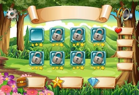 selva caricatura: Conjunto de elementos de juego y los iconos con tema de la naturaleza