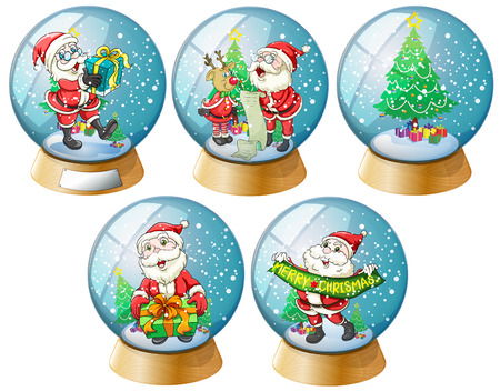 star clipart: Illustration of a set of glass ball of christmas and santa