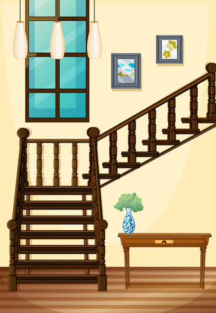 옥내의: A view of the indoor part of the house going upstairs