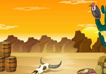 birds desert: Wallpaper with desert scene in yellow color