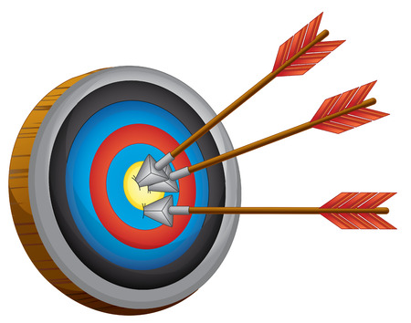 pointed arrows: An archery board on a white background