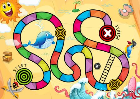 A colourful pirate boardgame Illustration