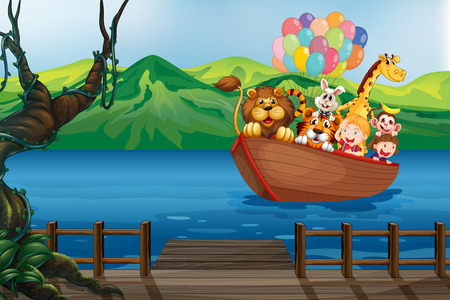 A boat with animals going to the wooden bridge Vector