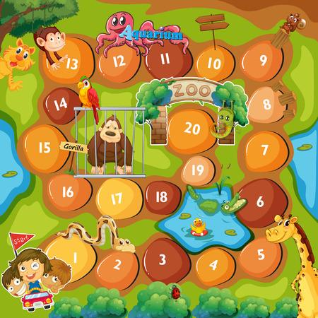 cartoon mensen: Board Game met dierentuin thema Stock Illustratie