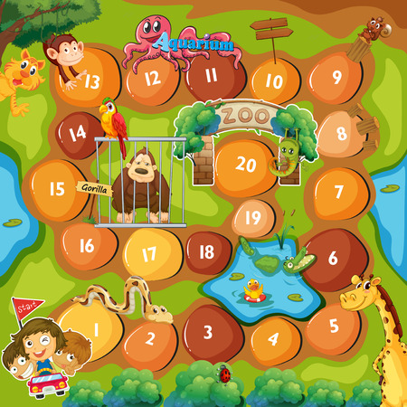 playing games: Board Game with zoo theme Illustration