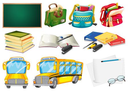 transporte escolar: Los conjuntos de �tiles escolares en un fondo blanco