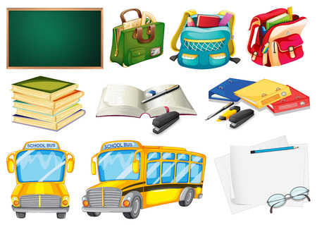 supplies: Sets of school supplies on a white background