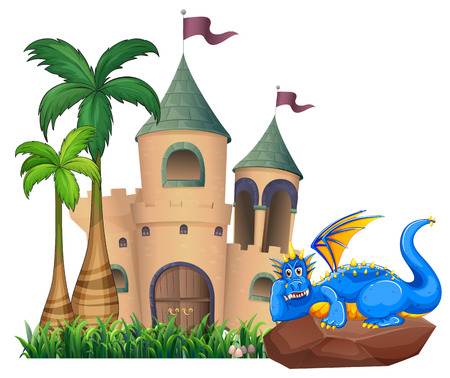 flaglets: A blue dragon across the castle on a white background