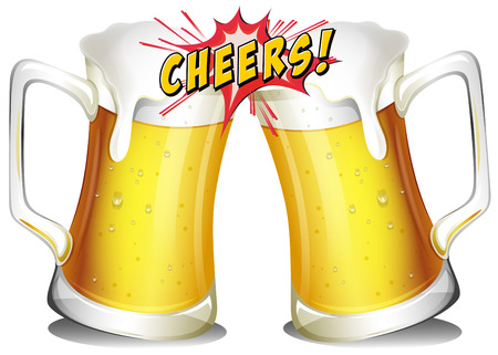 Mugs of beers on a white background Vector