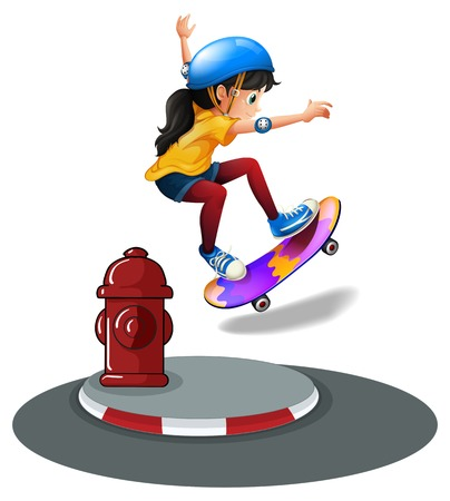 tubes: A young girl skating near the hydrant on a white background