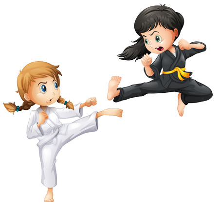 girl kick: Illustration of girls doing karate Illustration